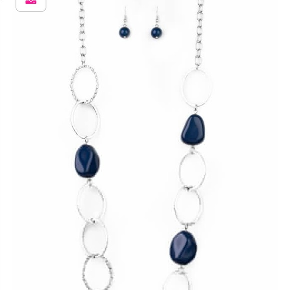 Jewelry - Blue and silver necklace and earrings set